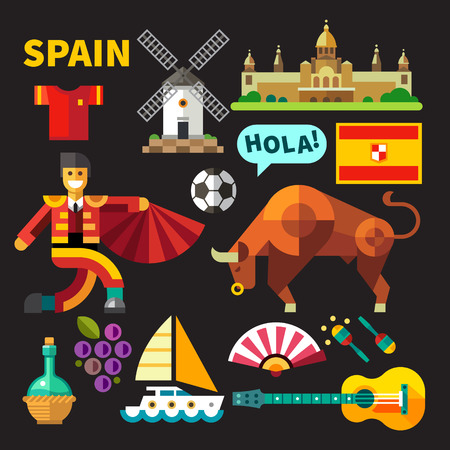 Color flat icon set and illustrations Spain Stock Illustratie