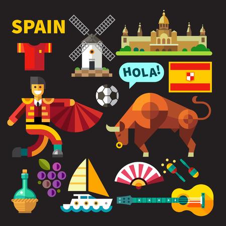 Kleur flat icon set en illustraties Spanje