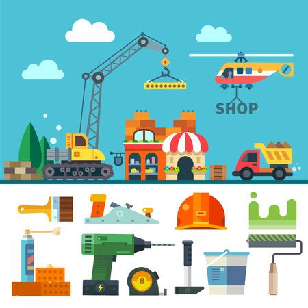 İnşaat. Süreç araç ve gereçleri. Vektör düz simge seti ve illüstrasyon: Bir ev vinç kamyon helikopter tuğla taş kum boya fırçası silindir matkap çekiç kask uçağı bina