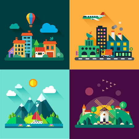 Color vector flat icon set and illustrations urban and village landscapes: nature mountains lake boating vacation sun trees house mills field city factory pollution cars skyscrapers Illustration