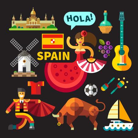 Színes vektor lapos, ikon, állhatatos illusztrációk Spanyolország: építészet palota zászló flamenco bikaviadalok bika bikaviadal toros toreodor gitár szőlő malom labdarúgó száling