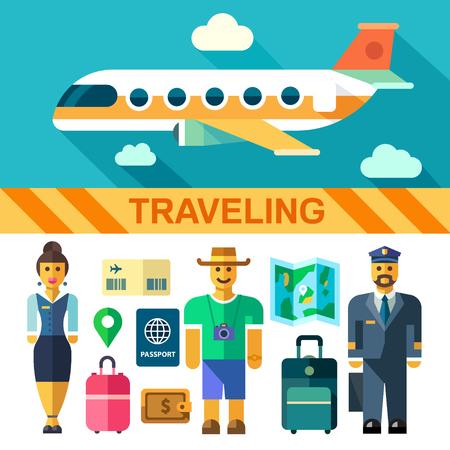Kleur vector flat icon set en illustraties reizen per vliegtuig: vliegende vliegtuig piloot stewardess toeristische koffers tassen paspoort instapkaart kaart portemonnee geld. Stock Illustratie
