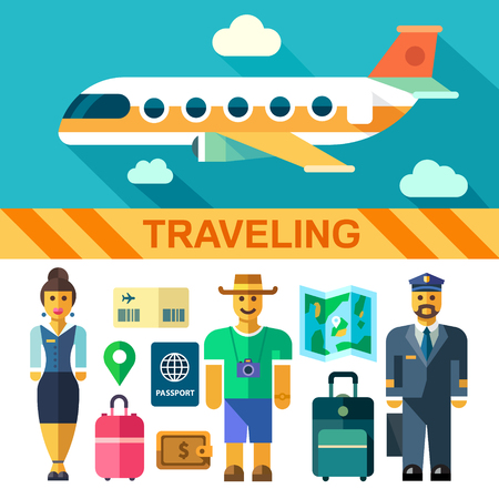 Color vector flat icon set and illustrations travel by plane: flying plane pilot flight attendant tourist luggage bags passport boarding pass map wallet money. Illustration