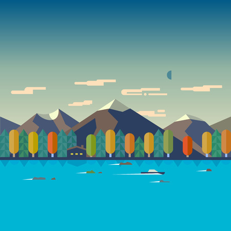 river vector: Color vector flat illustrations autumn landscape. Mountain river forest boat house