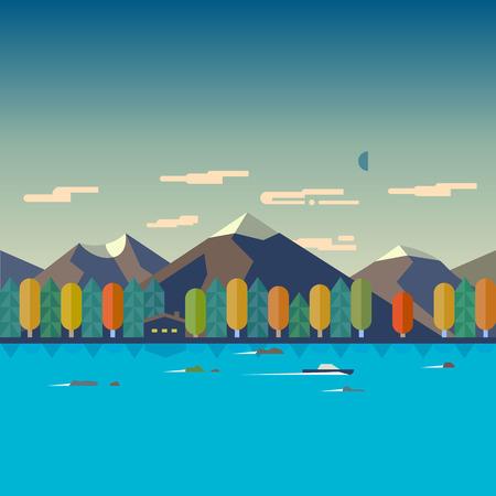 Color vector flat illustrations autumn landscape. Mountain river forest boat house