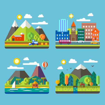 scene: Color vector flat illustrations urban and village landscapes: nature mountains lake hay deer ship vacation sun trees house mills field city cars skyscrapers