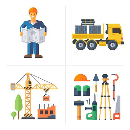 worker: Construcción: Trabajador que sostiene una grúa plan de construcción de un camión y herramientas casa. Vector ilustraciones planas