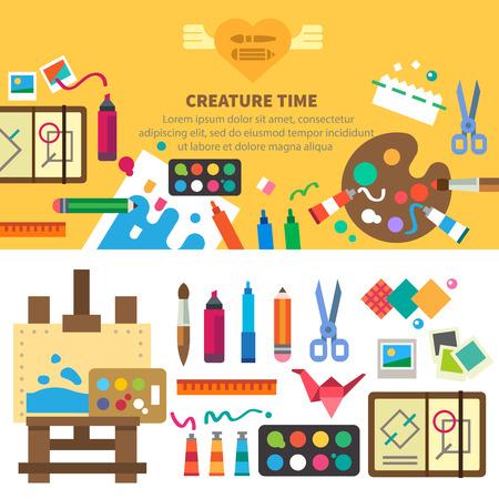 예술가를위한 창조적 인 집합. 아이디어 창의력 디자인. 도구 및 재료 : 브러쉬 마커 연필 가위 자 이젤 팔레트 페인트. 벡터 평면 그림과 배경