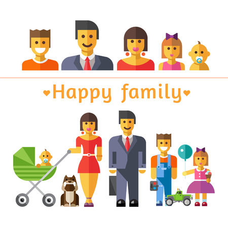 mother and baby son: Color vector flat illustrations and icon set happy family: parents and children