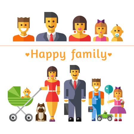 kid vector: Ilustraciones planas en color de vector y conjunto de iconos felices de la familia: los padres y los niños Vectores
