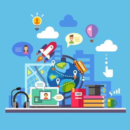wereldbol: Wetenschap en moderne technologie Stock Illustratie