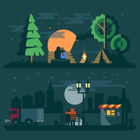 Sunset landscape vector: phong cảnh lãng mạn với một cặp vợ chồng trong tình yêu. hoàng hôn sông lều cháy rừng và xe tải thành phố đèn lồng. Vector hình minh họa phẳng