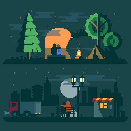 tent city: Romantic landscape with a couple in love. Forest river sunset fire tent and city truck lantern. Vector flat illustrations Illustration