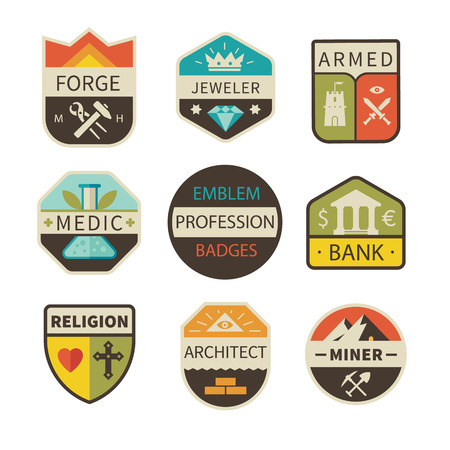religion: Professional icons and badges: forge jeweller armed medic bank religion architect miner.