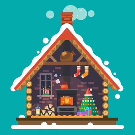 interior decoration: House of Santa Claus. Interior of the house with a fireplace Christmas tree gifts decorations. Vector flat illustration