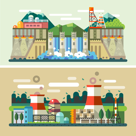 hydro power: Industrial landscapes: hydroelectric power plant factory electric power station. Vector flat illustrations