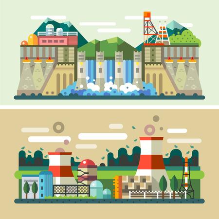 turbina: Paisajes industriales: la fábrica central eléctrica central eléctrica hidroeléctrica. Vector ilustraciones planas