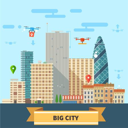 Landschap van de toekomst. Moderne technologieën Grote stad wolkenkrabbers en drones vliegen in de lucht. Vector flat illustratie