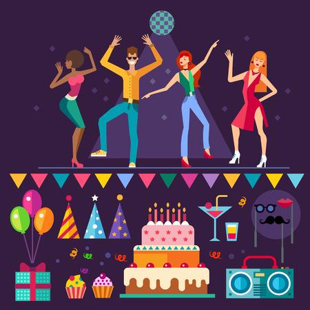 Ночной клуб. Люди танцуют. Музыка партия: праздничный торт шары подарок маска коктейль. Вектор плоским набор иконок и иллюстраций Иллюстрация