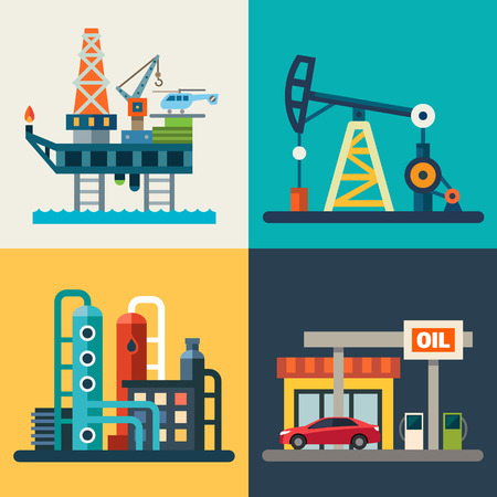 Recuperação de petróleo da plataforma petrolífera um posto de gasolina. Vector planas ilustrações