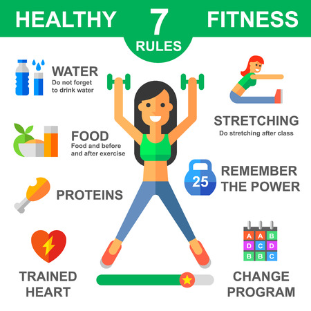 Rules of healthy lifestyle. Fitness. Sport. Vector flat illustrations