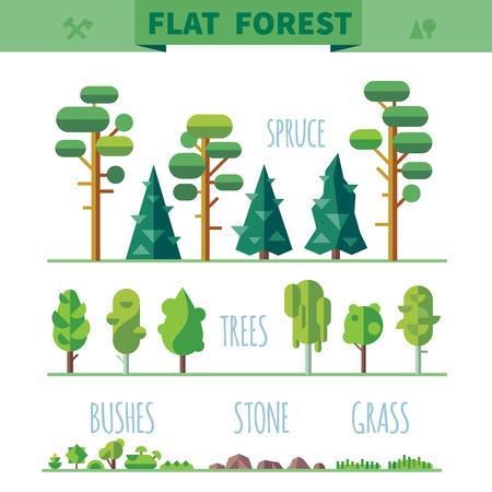 Farklı ağaçlar Set çim kayalar. Oyun için Spritelar. Vektör düz ormanlar resimler Çizim