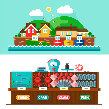 Seaport landscapes and seafood market: village houses ships sea counter scales shells clams fish crabs squid starfish. Vector flat illustrations