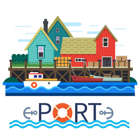 fishing village: Sea Port. Boats with a cargo. Warehouse. Vector flat illustration