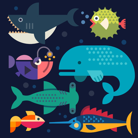 blue sea: Sea life. Big fish. Vector flat illustrations Illustration