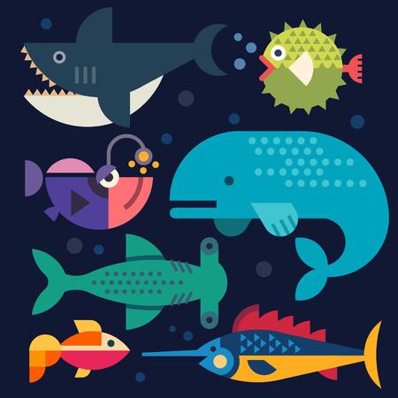 shark cartoon: Vida marina. Los peces grandes. Vector ilustraciones planas