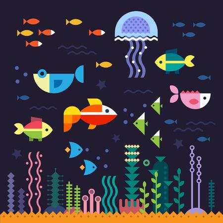 Deniz hayatı. Sualtı dünyası. Balık denizanası deniz dibi yosun hazine. Vektör düz çizimler ve simge seti