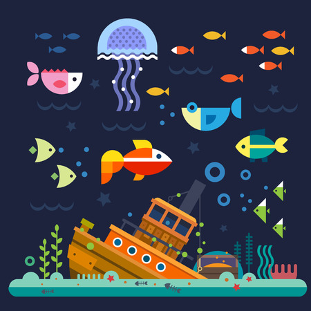 at the bottom of: Sea life. Underwater world. Fish jellyfish sea bottom backwaters ship algae treasure. Vector flat illustrations and icon set