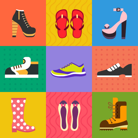 tienda de zapatos: Calzado para todas las ocasiones: zapatos zapatillas botas. Vector icono plana conjunto e ilustraciones