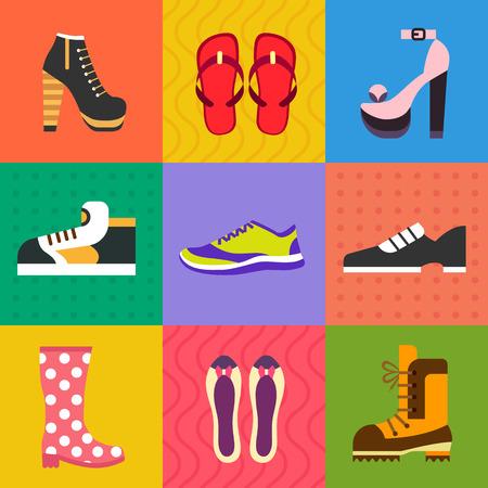 chaussure: Chaussures pour toutes les occasions: chaussures sneakers bottes. Vector ic�ne plat set et illustrations