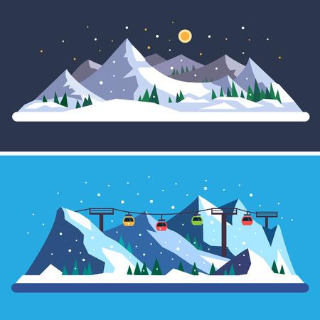Лыжный курорт. Горные пейзажи. Вектор плоские иллюстрации