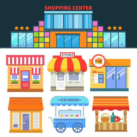 Shops and trade. Shopping Center. Different building of shops and cafes. Vector flat icons and illustrations