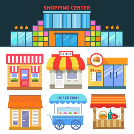 Winkels en handel. Winkelcentrum. Verschillende bouw van winkels en cafés. Vector vlakke pictogrammen en illustraties Stock Illustratie