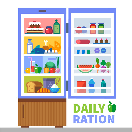 ration: Daily ration. Proteins fats carbohydrates. Cereals meat fish bread milk water sweets. Refrigerator with food. Healthy lifestyle. Vector flat illustration and info graphic