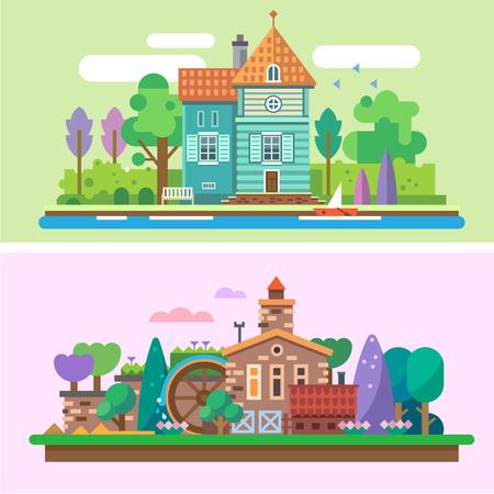 molino de agua: Día y noche de verano jardín de paisaje: árboles casa parque matas de hierba lago en barco río flores molino de agua. Antecedentes para el juego. Vector ilustraciones planas