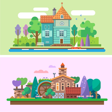 lake house: Day and evening summer garden landscape: house park trees bushes grass lake river boat water mill flowers. Background for game. Vector flat illustrations