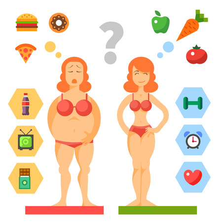 Dieta. Scelta di ragazze: essere grassi o slim. Stile di vita sano e cattive abitudini. Illustrazioni vettoriali piane Vettoriali