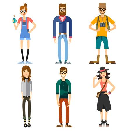 Hipster ve turist olmak üzere insanların farklı karakterler. Kızlar ve erkekler. Moda ve Stil. Vektör düz illüstrasyon