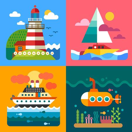 Различные морские пейзажи: маяк острова корабли и подводный мир. Вектор плоские иллюстрации Иллюстрация
