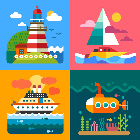 Diversi paesaggi di mare: navi Island Lighthouse e mondo sottomarino. Illustrazioni vettoriali piatte