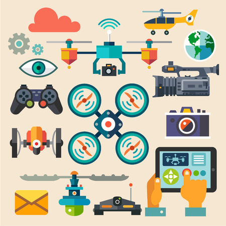 drones: Drones for photo and video. New technologies. Vector flat icon set and illustrations