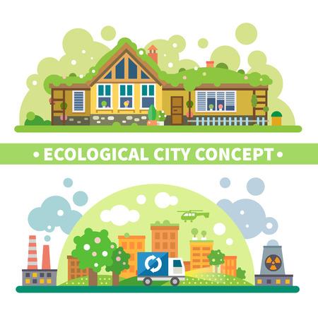 radiacion solar: Concepto ecológico de la ciudad: la casa verde y la protección del medio ambiente contra la contaminación y la radiación. Vector ilustración plana