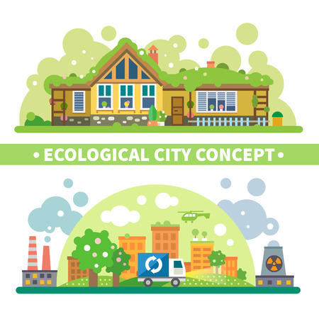 Ecological city concept: green house and environment protection from pollution and radiation. Vector flat illustration