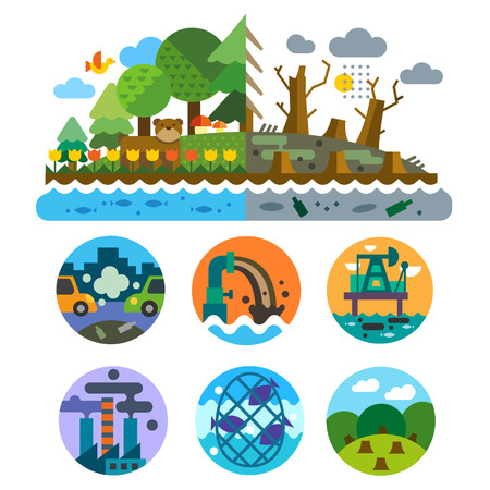 Ecological problems: pollution of water earth air deforestation destruction of animals. Mills and factories. Forest landscape. Environmental protection. Vector flat illustration and emblems set