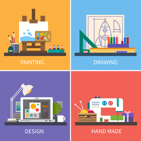 flat brushes: Creativity: painting drawing design hand maid. Vector flat illustrations