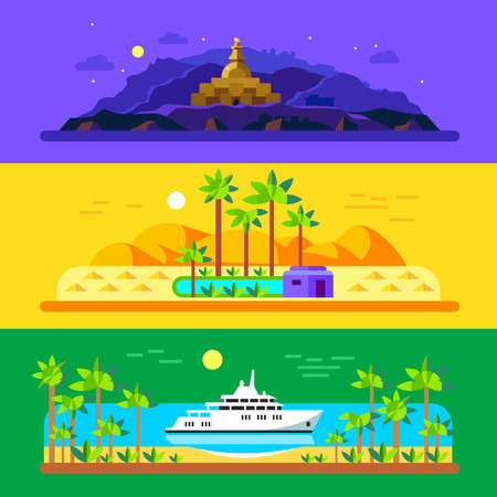 Different landscapes. Mountains temples pyramids sand palm trees an oasis sea ship. Vector flat illustrations